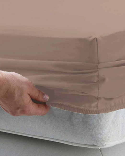Egyptian cotton 300 thread count fitted sheet mocha